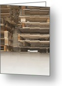Wooden Pallets Greeting Cards - Wooden Pallets Stacked Up Greeting Card by Shannon Fagan
