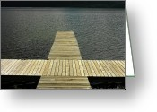 Close Up Greeting Cards - Wooden pontoon Greeting Card by Bernard Jaubert