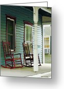 Suburbs Greeting Cards - Wooden Rocking Chairs on Porch Greeting Card by Susan Savad