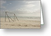 Soccer Greeting Cards - Wooden Soccer Net On Beach Greeting Card by Bailey