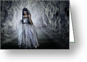 Ghostly Greeting Cards - Woodland Bride Greeting Card by Julie L Hoddinott