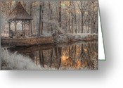 Foilage Greeting Cards - Woodland Gazebo Greeting Card by Jane Linders