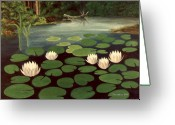 Happy Texas Artist Greeting Cards - Woodland Hidden Pond Greeting Card by Fred Jinkins