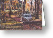 Retro Pastels Greeting Cards - Woodland Greeting Card by Sharon Poulton