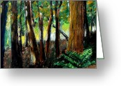 Brown Leaf Greeting Cards - Woodland Trail Greeting Card by Michelle Calkins