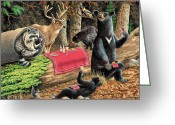 Chipmunk Greeting Cards - Woodland Wine Tasting Greeting Card by JQ Licensing