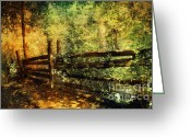 Woodlands Mixed Media Greeting Cards - Woodlands Fence Greeting Card by Elaine Manley