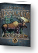 North American Greeting Cards - Woodlands Moose Sign Greeting Card by JQ Licensing