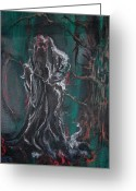 Creepy Pastels Greeting Cards - Woodsend Greeting Card by Jhan Hunter