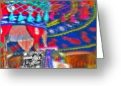 Reminiscing Greeting Cards - Woodstock Fabric Abstract 2 Greeting Card by Steve Ohlsen