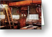 Thank You Greeting Cards - Woodworker - Old Workshop Greeting Card by Mike Savad