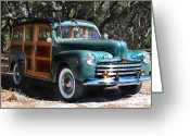 Woody Wagon Greeting Cards - Woody Classic Cars Greeting Card by Joseph G Holland