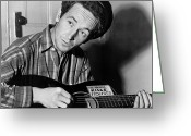Entertainer Greeting Cards - Woody Guthrie (1912-1967) Greeting Card by Granger