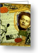 Woody Guthrie Greeting Cards - Woody Guthrie Collage Greeting Card by Mari Bailey