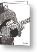 Woody Guthrie Greeting Cards - Woody Sez Greeting Card by David Fossaceca