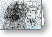 Sheepdog Mixed Media Greeting Cards - Woof Woof Baa Baa Greeting Card by Evelyn Cammarano
