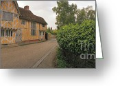 Historic Street Greeting Cards - Wool Merchant House Lavenham Greeting Card by Jan Faul