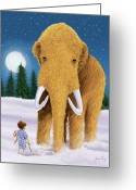 Storybook Greeting Cards - Woolly Mammoth Dream Greeting Card by Amanda Francey