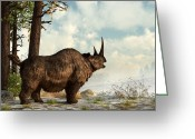 Extinct Greeting Cards - Woolly Rhino Greeting Card by Daniel Eskridge