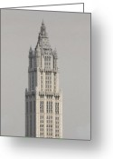 Woolworth Building Greeting Cards - Woolworth  Black and White Two Greeting Card by Christopher Kirby