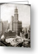 Hall Greeting Cards - WOOLWORTH BUILDING, 1920s Greeting Card by Granger