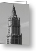 Woolworth Building Greeting Cards - Woolworth Building Black and White Greeting Card by Christopher Kirby