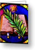 Star Glass Art Greeting Cards - Word  Greeting Card by Trish Jenkins