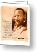 Civil Rights Greeting Cards - Words of Peace  Man of Peace  Martin Luther King Jr Greeting Card by Shawn Shea