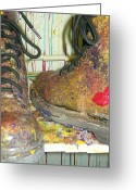 Escobar Greeting Cards - Work Boots Greeting Card by Laurette Escobar