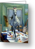 Horse Art Greeting Cards - Work In Progress V Greeting Card by Jeanne Newton Schoborg
