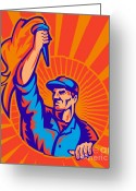 Male Greeting Cards - Worker Carrying Flaming Torch Sunburst Greeting Card by Aloysius Patrimonio