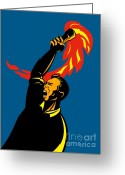 Shout Greeting Cards - Worker With Torch Greeting Card by Aloysius Patrimonio