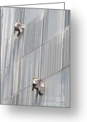 Labour Greeting Cards - Workers on facade of building Greeting Card by Matthias Hauser