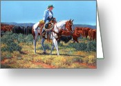 Four Corners Greeting Cards - Working Cowgirl Greeting Card by Randy Follis