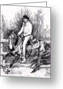 Cowboy Sketches Greeting Cards - Working in the Pen-Bic Pen that is Greeting Card by Cheryl Poland