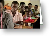 Uganda Greeting Cards - Working Parents And Children, Uganda Greeting Card by Mauro Fermariello
