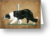 Sheepdog Mixed Media Greeting Cards - Working Greeting Card by Sue Ann Thornton