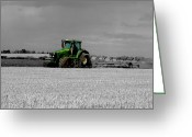 Plowing Greeting Cards - Working the Fields Greeting Card by Sarah Couzens