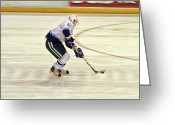 Ice Skates Greeting Cards - Working the Puck Greeting Card by Karol  Livote