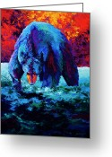 Cubs Painting Greeting Cards - Working The Shallows Greeting Card by Marion Rose