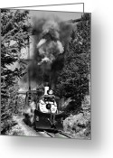 Southern Rocky Mountains Greeting Cards - Working Up the Loop Black and White Greeting Card by Ken Smith
