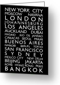 Typography Greeting Cards - World Cities Bus Roll Greeting Card by Michael Tompsett