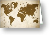 Antique Map Digital Art Greeting Cards - World Grunge Greeting Card by Ricky Barnard