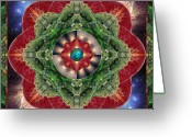Sacred Geometry Greeting Cards - World-Healer Greeting Card by Bell And Todd