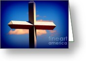 Crossroads Greeting Cards - World Largest Cross in Illinois  Greeting Card by Susanne Van Hulst
