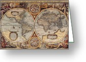 Old Map Photo Greeting Cards - World Map 1636 Greeting Card by Photo Researchers