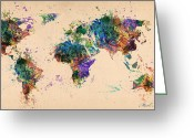 Urban Watercolour Greeting Cards - World Map 2 Greeting Card by Mark Ashkenazi