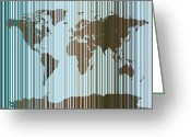 Map Greeting Cards - World Map Abstract Barcode Greeting Card by Michael Tompsett