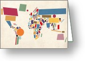 Geometric Digital Art Greeting Cards - World Map Abstract Greeting Card by Michael Tompsett