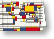 Square Digital Art Greeting Cards - World Map Abstract Mondrian Style Greeting Card by Michael Tompsett
